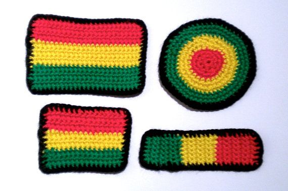 Rasta patch applique 4pack black set, hemp reggae colors sew-on, reggae crochet African colors sew on, Bob Marley patch, Ethiopian flag patch applique, Mary Jane accessories by MultiKultiCrafts, €12.00