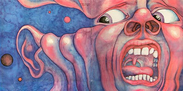 Barry Godber, artwork for King Crimson, In the Court of the Crimson King, 1969. Watercolour.This was the only album cover Godber painted. Barry died in 1970 at the age of 24. The original painting is owned by Robert Fripp.