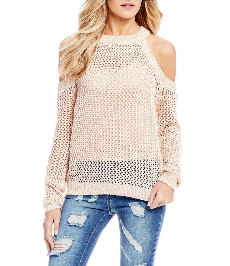 CandV Chelsea and Violet Cold Shoulder Open Weave Sweater #Dillards