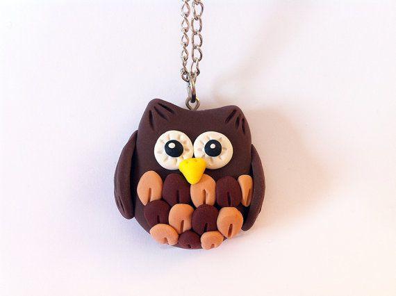 Owl Polymer Clay Necklace by JellyMD