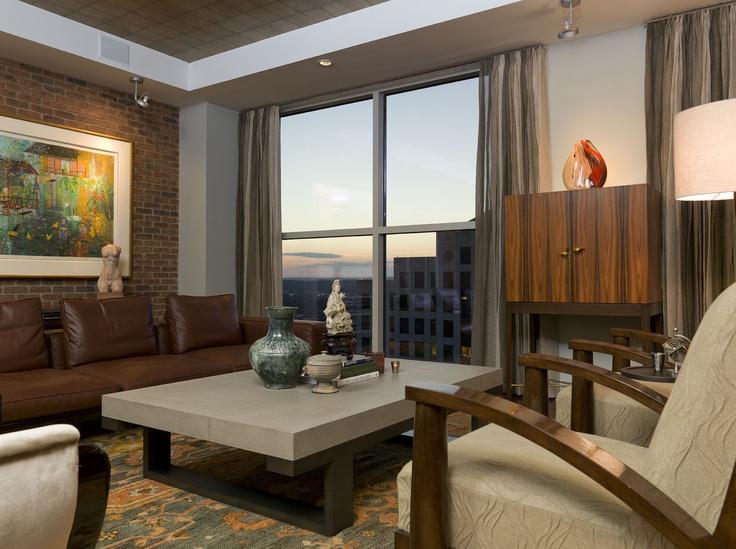 Downtown Austin Condo Designed By Cravotta Interiors   Living Room, Charles  Umlauf Sculpture, Custom Dray Bar By Cravotta.