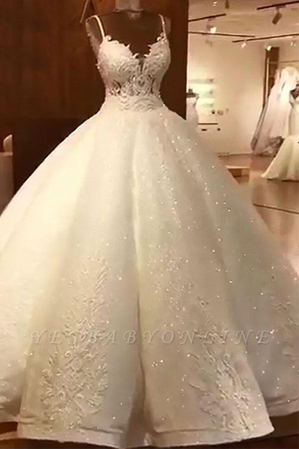Stunning Ball Gown Wedding Dresses Spaghetti Straps Lace Bridal Gown Ball Gowns Wedding Ball Gown Wedding Dress Bridal Ball Gown