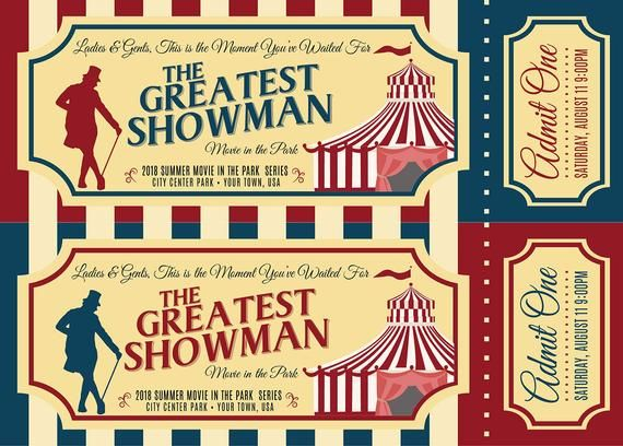 Printable Greatest Showman Viewing Party Tickets 5x7 2 Per Etsy In 2021 The Greatest Showman Party Tickets Viewing Party