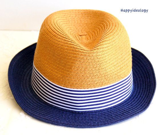 Straw Fedora Hat. Blue and White Summer Hat. by HappyIdeology