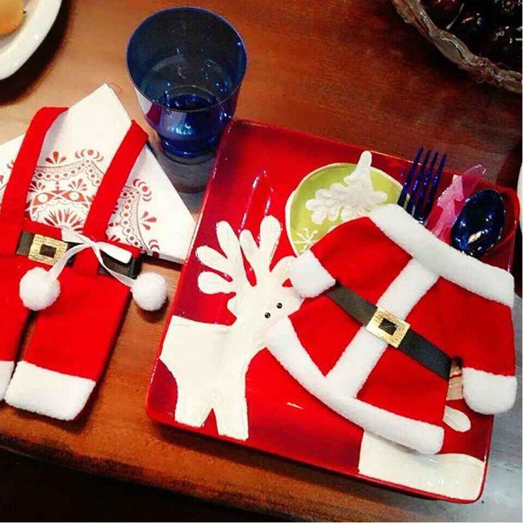 Небольшие мешки одежды Санта Клауса Рождественские поставки Рождество нож и вилка столовые приборыкупить в магазине WarmнаAliExpress
