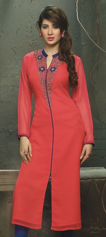 448518 Red and Maroon  color family Long Kurtis in Viscose fabric with Machine Embroidery work .