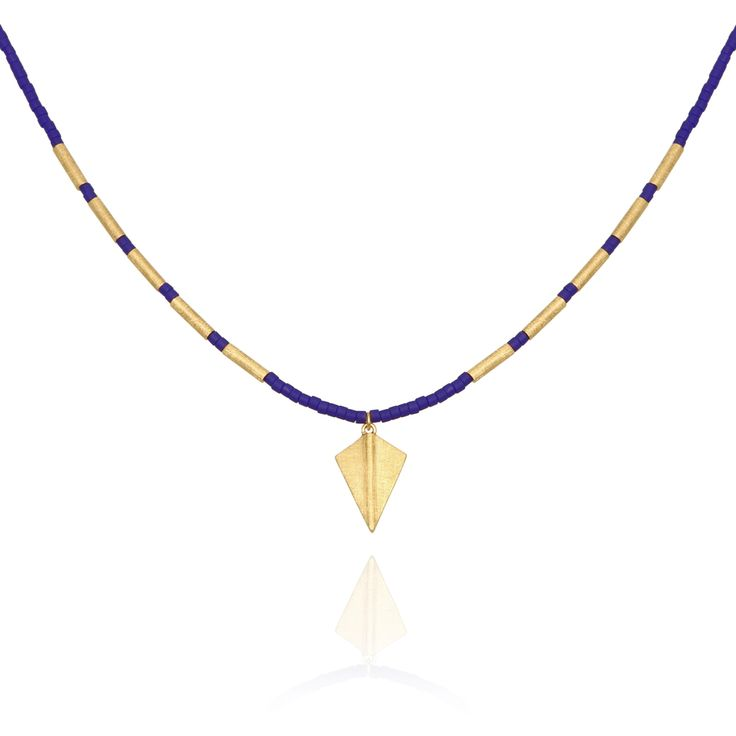 TEMPLE OF THE SUN JEWELLERY BYRON BAY - Seed Bead Necklace with Gold Arrowhead Matt Cobalt, $119.00 (http://www.templeofthesun.com.au/seed-bead-necklace-with-gold-arrowhead-matt-cobalt/)
