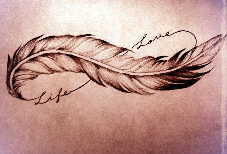 Tatouage plume symbole infini