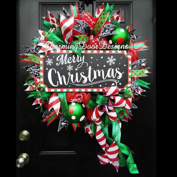 READY TO SHIP Merry Christmas Deco Mesh by CharmingDoorDesigns