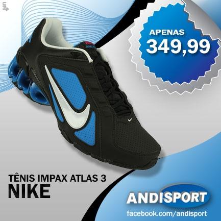 O Tênis Nike Impax Atlas 3 SL é especial para os esportistas que buscam os melhores resultados nos treinos diários. É muito macio e garante ótimo amortecimento de impactos na pisada. Não perca essa promoção!