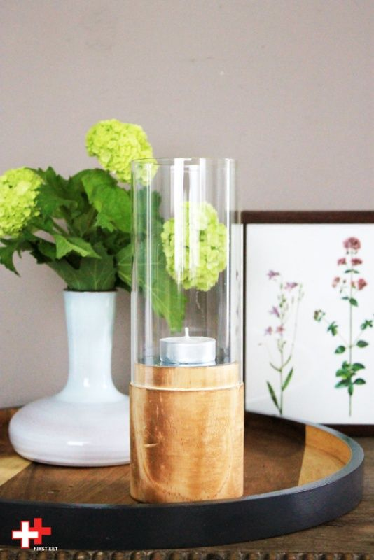 Windlicht hout/glas