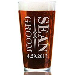 ONE Wedding Party Classy Personalized 16oz Pub Glass Gift for Groom Best Man Groosman Usher Favors for Grooms Bridal Party Crew Custom Wedding Day Glasses