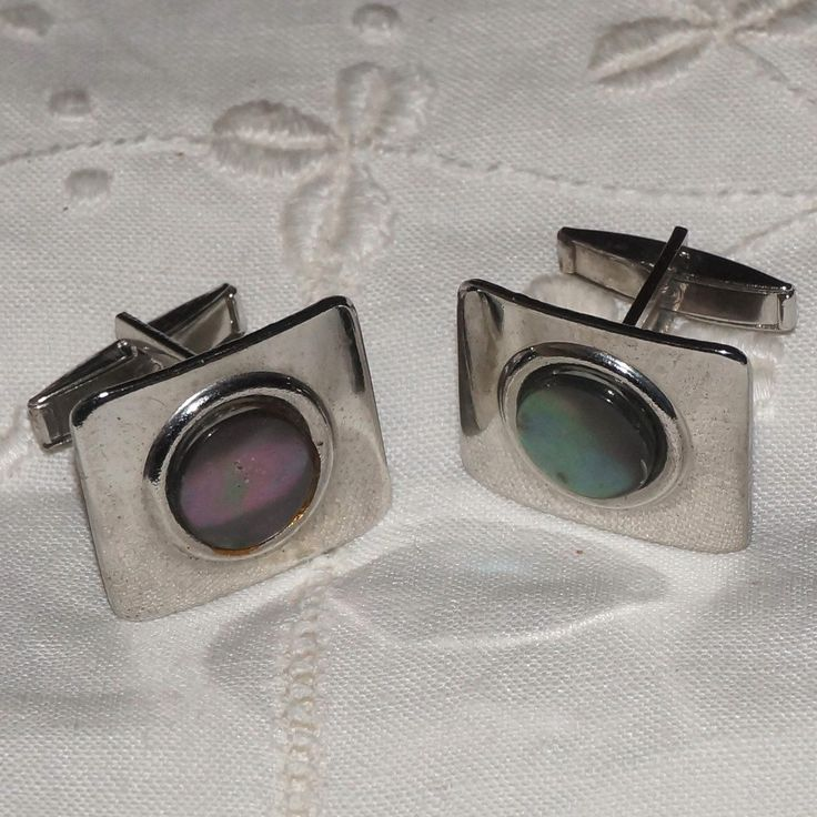 Mens Vintage Swank 50s Abalone Square Cufflinks Cuff Links by NotSewIdle on Etsy
