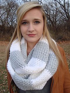 Rugby Stripe Circle Scarf Crochet Pattern
