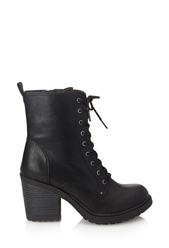 Lace-Up Combat Boots | FOREVER21 - 2000102182 (Just bought these, but of a much nicer quality... Diba Pilot Bootie at DSW.)