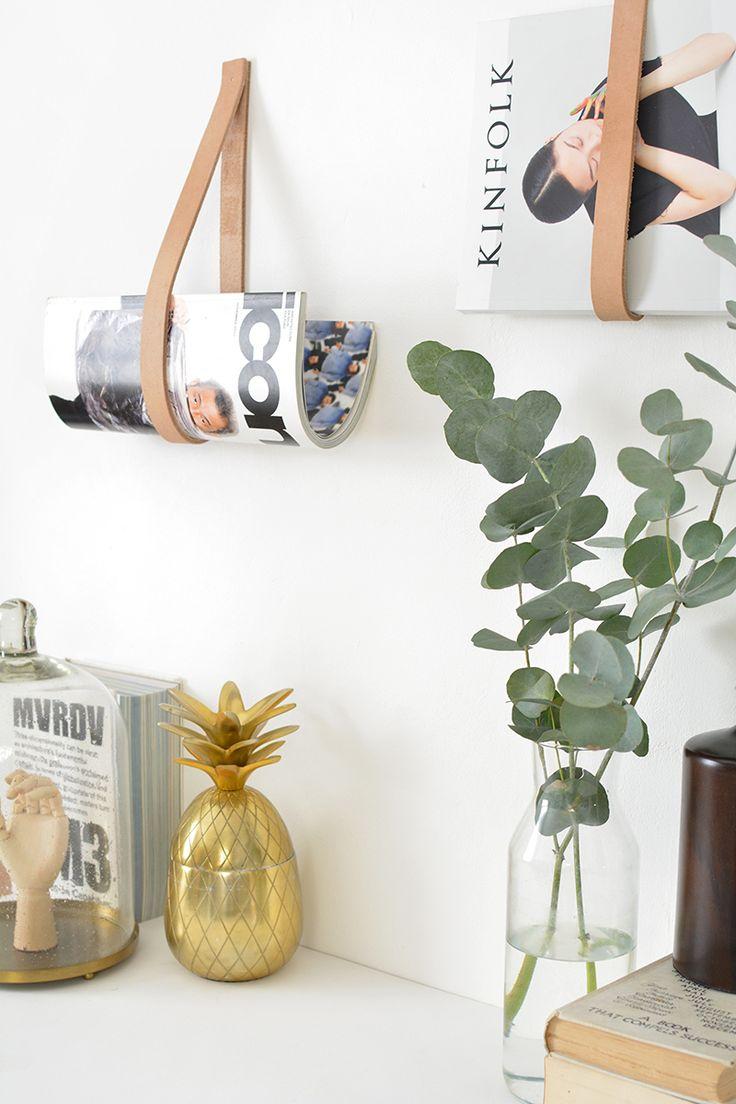 DIY leather strap magazine holder