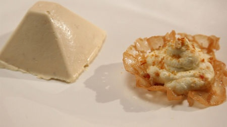 Coconut parfait with a ginger brandy snap