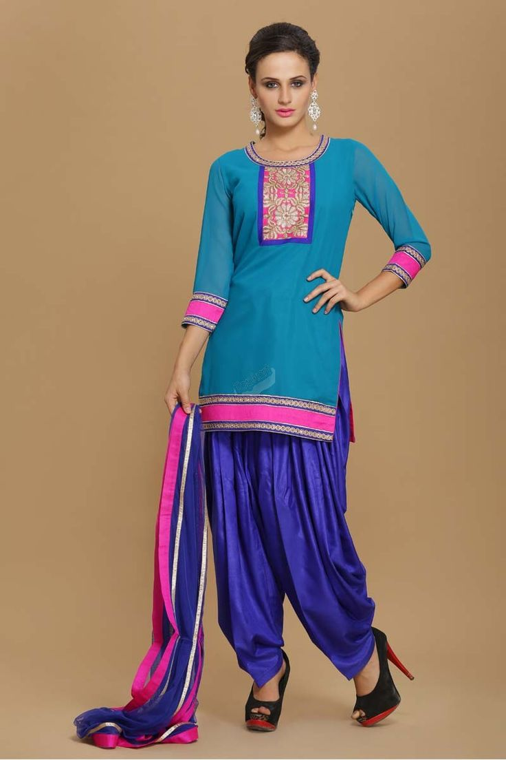 Firozi Viscose Patiala Suit Latest online collection from the house of Topkart. Georgette kameez lined with semi crepe. Neckline with zari embroidery. Daman & sleeves with contrast borders. Shantoon Patiala salwar. Net dupatta with borders.