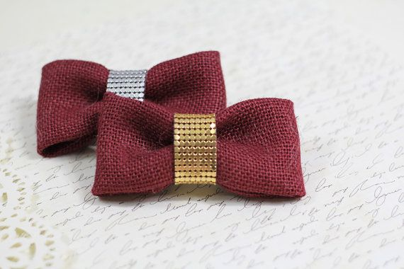 Maroon Burlap Bow Barrette  red rouge by neesiedesigns on Etsy, $12.00