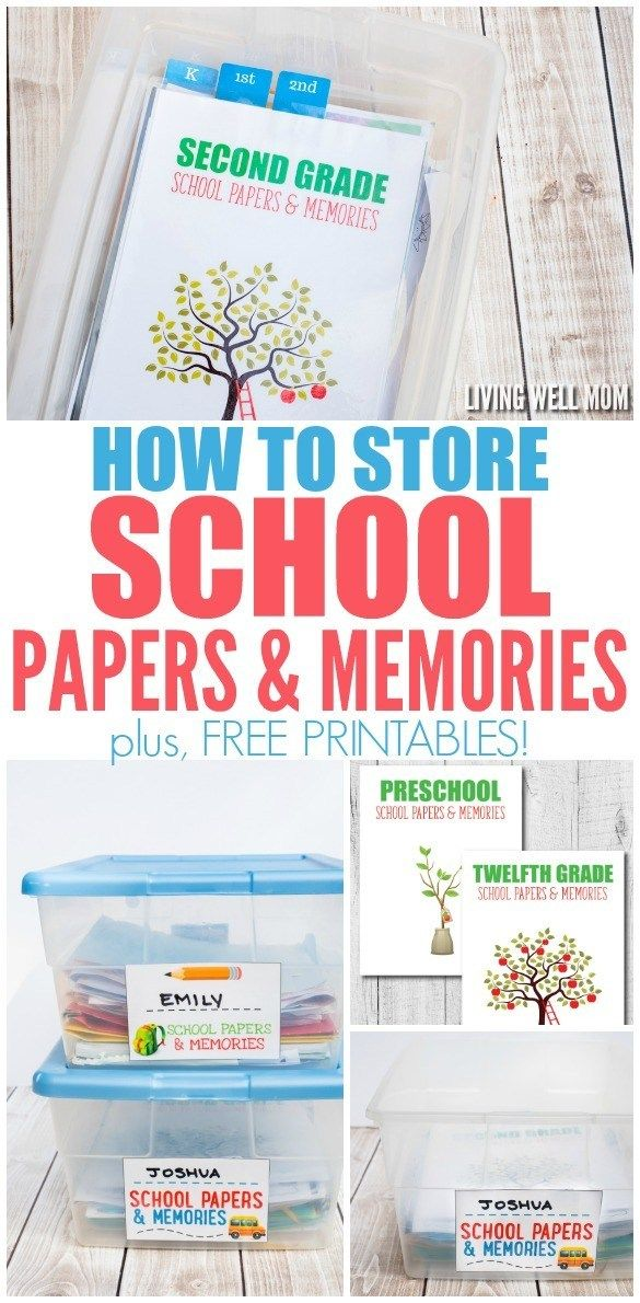 How To Store School Papers Memories Free Printables In 2020 With Images Kids School Organization Kids School Papers School Paper Organization