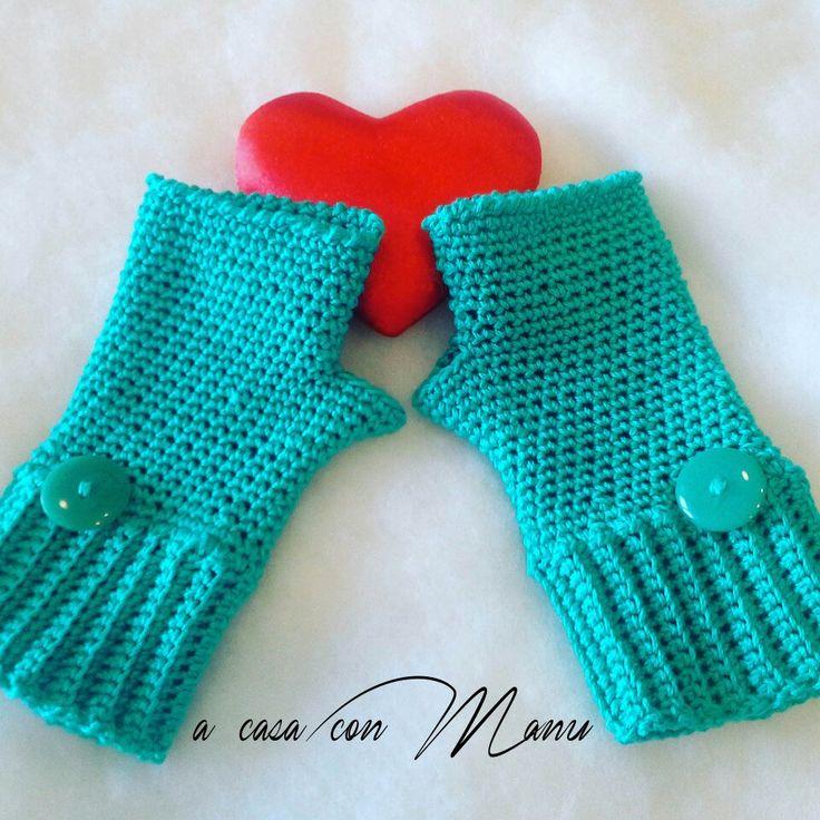 Guanti senza dita  Blue fingerless gloves Handmade with love