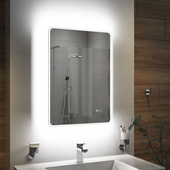 Cassellie Led Illuminated Multicolour Mirror With Demister Bluetooth Speakers 500 X 700mm With Images Dark Bathrooms Have A Shower Mirror