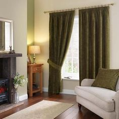 Dunelm Forest Green Chenille Pencil Pleat Curtains
