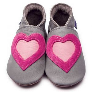 Love Retro Grey/Pink Inch Blue Shoes - Soft Handmade Leather Baby Shoes
