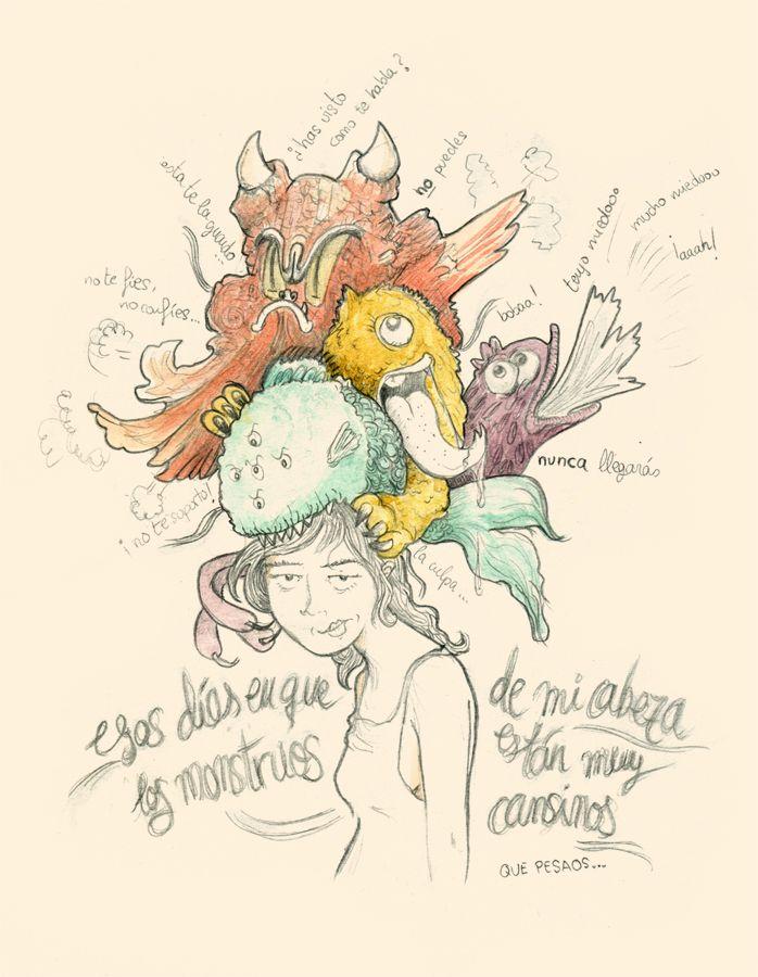 Pensamonstruos® que a veces son muy cansinos. Lápices, acuarela y ganas de sacar a los monstruos de la cabeza, ponerles nombres tal vez y dejarlos marchar. Ilustración creada por Estela Labajo Duque.
