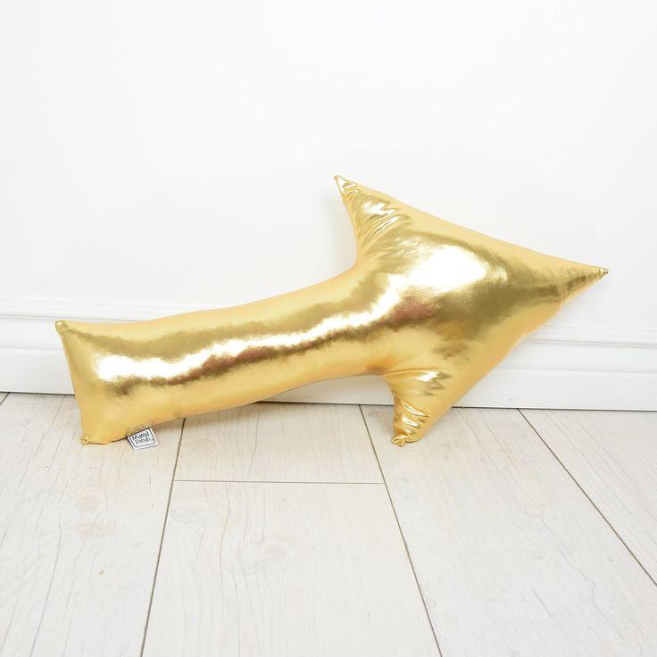 Pillow Cushion Softie Kids Girl Boy- Gold Arrow by MamaPotrafi on Etsy