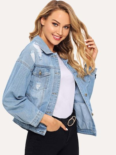 f3e0b0f9bd Drop Shoulder Ripped Denim Jacket [jacket181120901] - $48.00 : moonbaye.com