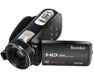 1080P Caméscope, Besteker Portable HD Max 24.0 Megapixels 10X Zoom optique Caméra vidéo DV 3,0 pouces écran tactile Télécommande Caméscopes…