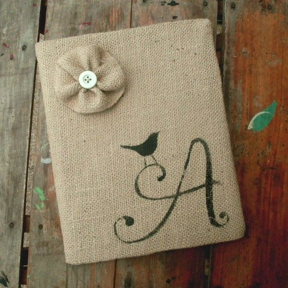 Bird Letter - Monogram Burlap Feed Sack Journal Cover w. Notebook -  simple but beautiful