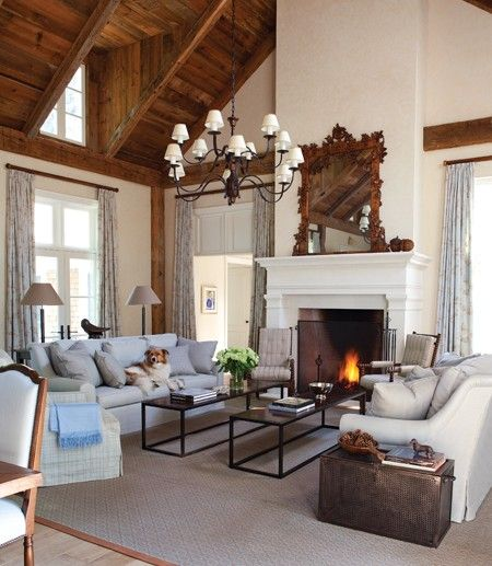 wood accents and a fire placeCoffee Tables, Living Rooms, Modern Country, Livingroom, Country House, Farmhouse Living Room, High Ceilings, Vaulted Ceilings, Living Room Furniture