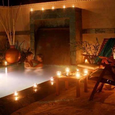 Romantic bathtub with candles