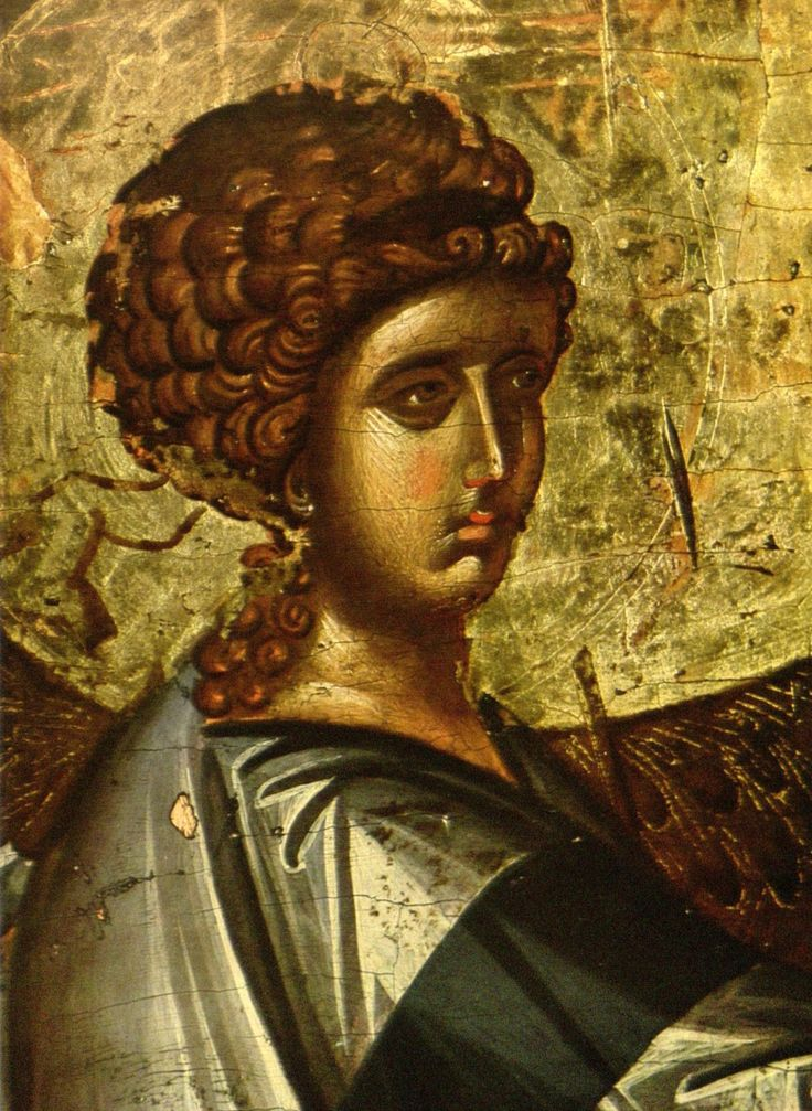Detail of the Angel Gabriel from an Icon of the Annunciation  14th century, from St. Clement's, Ohid, Macedonia