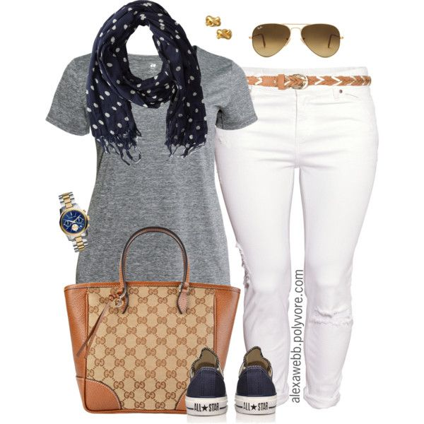 Plus Size - Simple Sunday by alexawebb on Polyvore featuring H&M, Converse, Gucci, Michael Kors, Kate Spade, Scotch & Soda, Ray-Ban, outfit, plussize and plussizefashion