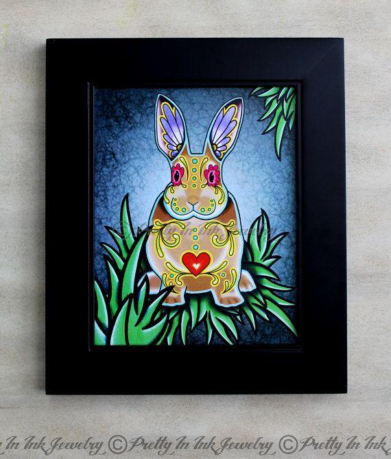 Day of the Dead Bunny Rabbit in Cream Sugar Skull Art Print by PrettyInInkJewelry, $14.95