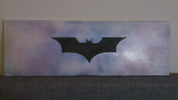 -Stencil Batman Logo -Spray and watermarkers on canvas -Measures: 20x60 cm  https://www.etsy.com/listing/215071933/stencil-batman-logo-on-canvas
