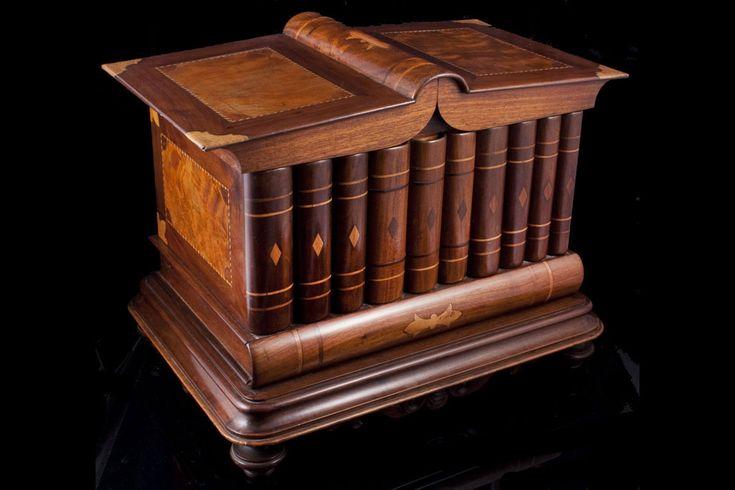 Caja-libros por puros habanos firmado Ignacio Lasoncel, Hecho en Cuba