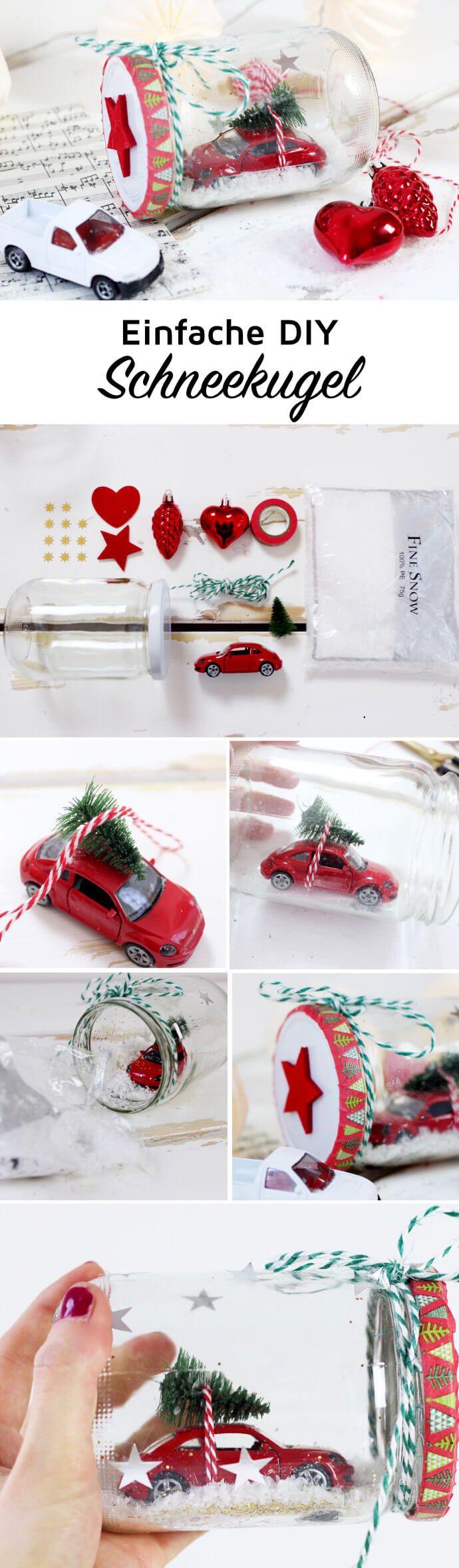 Einfache DIY Schneekugel selber machen. Die selbstgemachte Schneekugel eignet sich super als kleines Weihnachtsgeschenk!