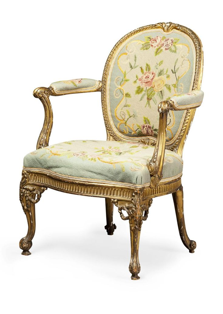 GOOD GEORGE III GILTWOOD OPEN ARMCHAIR IN THE MANNER OF THOMAS CHIPPENDALE  CIRCA 1760 65CM WIDE