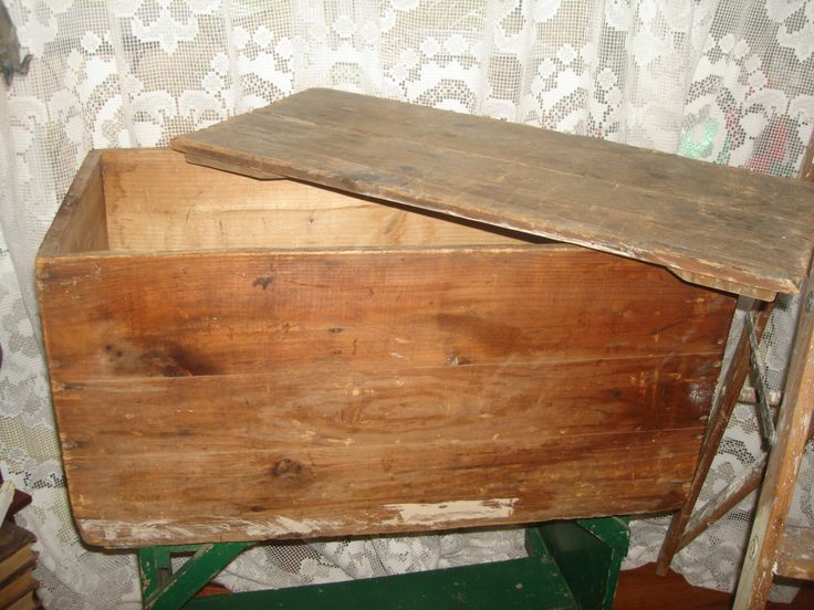 antique wooden box with lid wood lidded crate storage trunk box by StinkyTinkysTreasure on Etsy