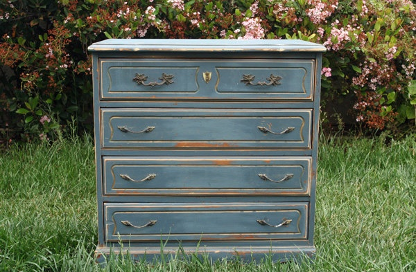 Vintage Chic Dresser Painted and Distressed in Denim Blue by Foo Foo La La. $395.00, via Etsy.Vintage Chic, Stained Denim, Distressed Furniture, Denim Distressed, Dressers Painting, Denim Blue, Chic Dressers, Distressed Dressers