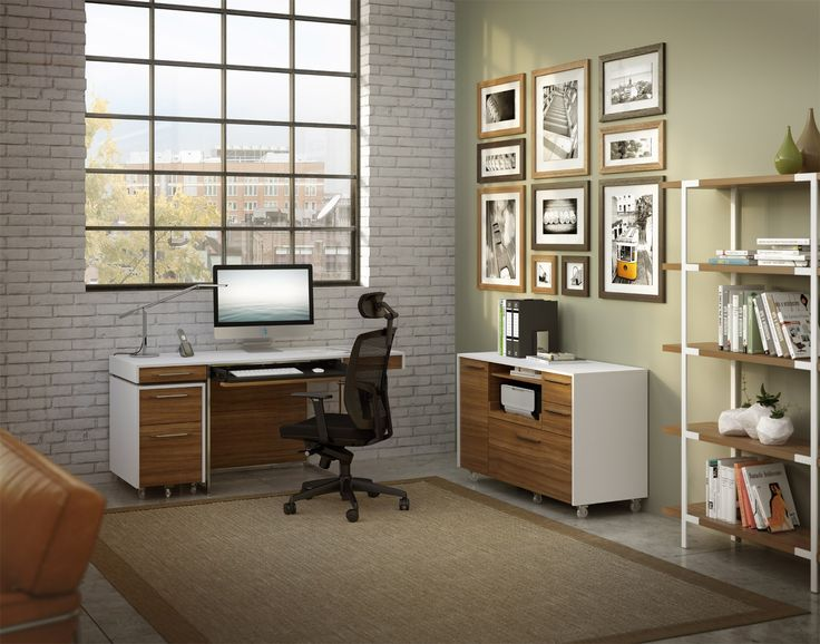 The FORMAT Office Collection Shown In Satin White And Natural Walnut Finish Creates A
