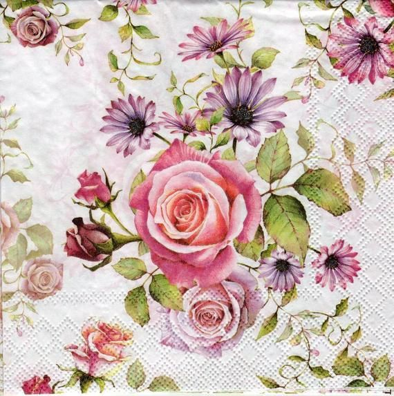 PAPER TABLE NAPKINS FOR CRAFT FLOWERS ROSE VINTAGE DECOUPAGE TEA PARTIES 484