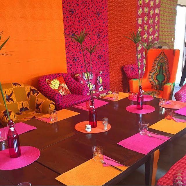 The AfroFusion Spot, home decor, interior design, african print, african, dashiki, ankara, furniture, table setting, dinner, table, home, inspiration, inspo, design, orange, color, colourful