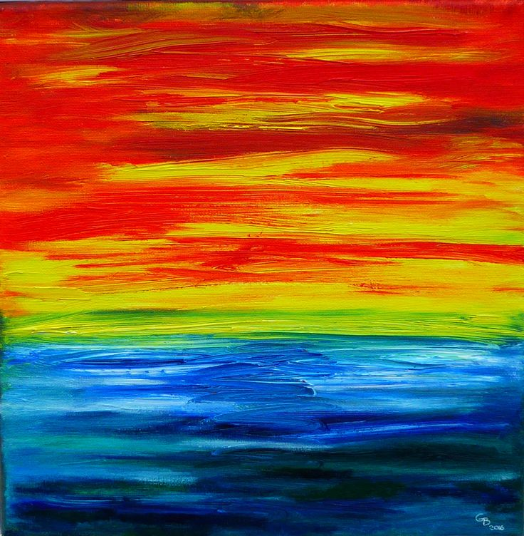 SEA SUNSET; oil on canvas by Gorica Bulcock