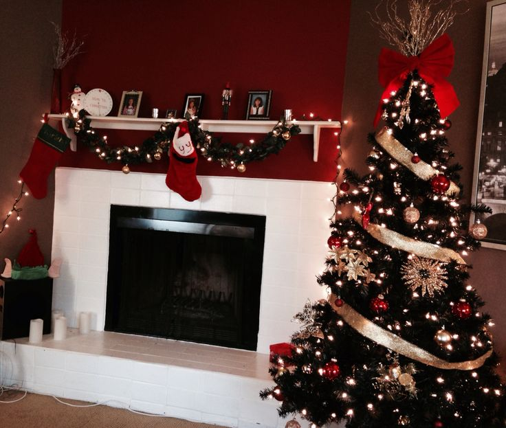 Black Christmas Tree With Gold And Red Decorations