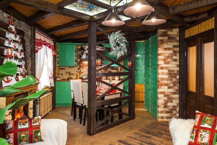 Интерьер кухни-столовой и гостиной в программе Фазенда. Здесь использован вот такой пол http://www.corkstyle.ru/catalog/wood/Barrique.html